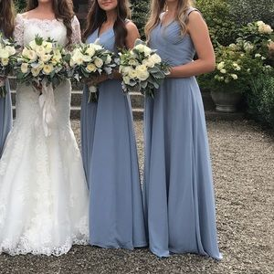 Azazie Flora dusty blue bridesmaid dress size A4